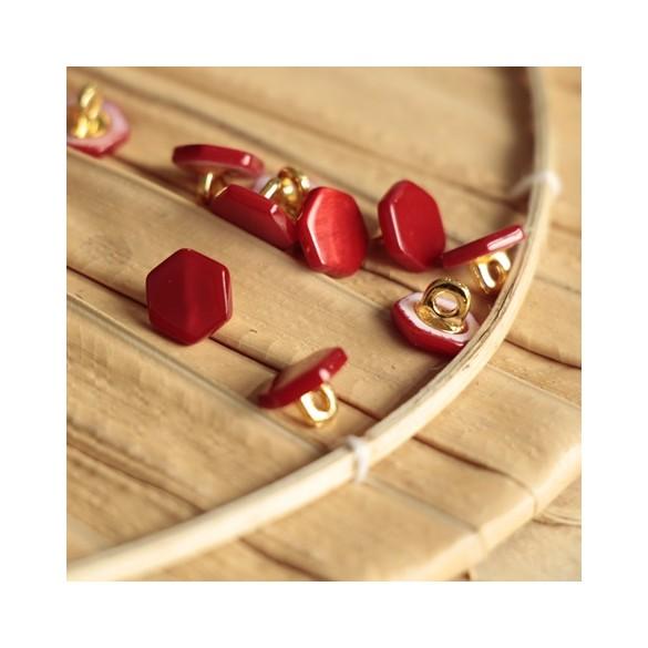 bouton janis hexagonal rouge