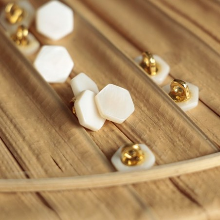 bouton janis blanc hexagonal