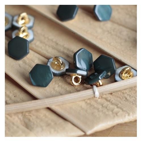 bouton janis hexagonal vert