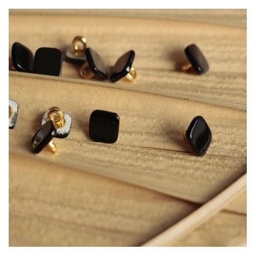 bouton carré janis noir en nacre