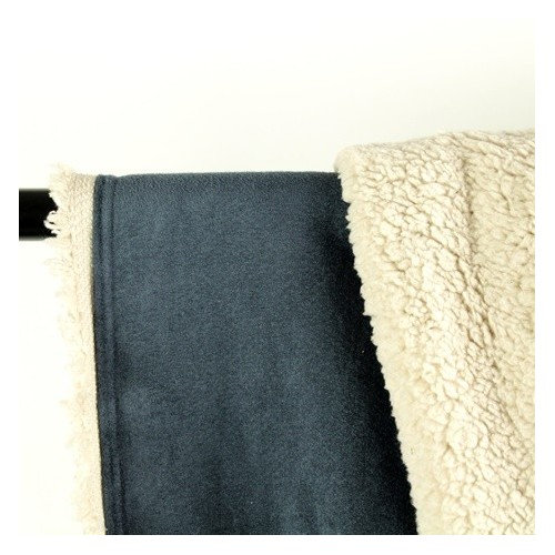 tissu suédine envers mouton bleu