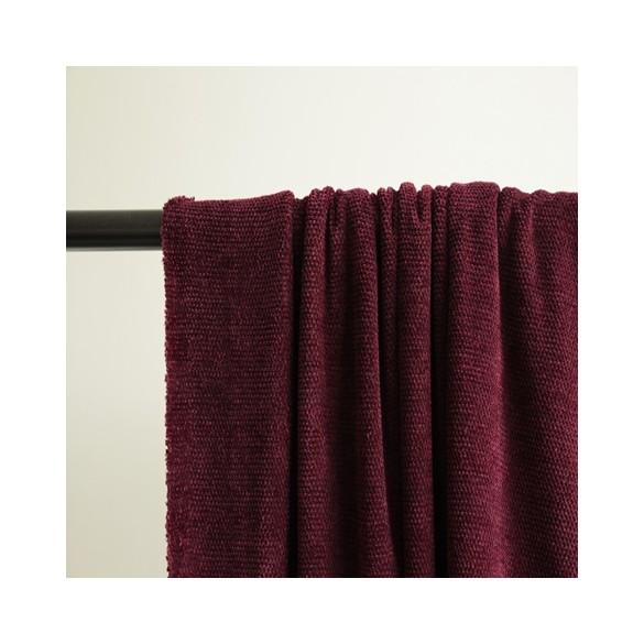 tissu maille chenille bordeaux