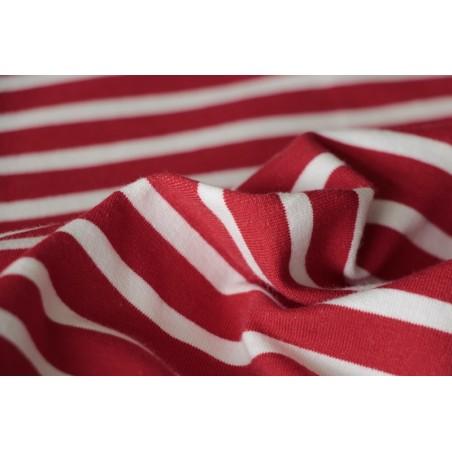 tissu molleton marinière rouge et blanc