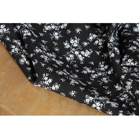 viscose petites fleurs noir et blanc