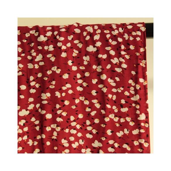 viscose à fleurs thais rouge