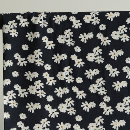 viscose fleurs marine marguerite