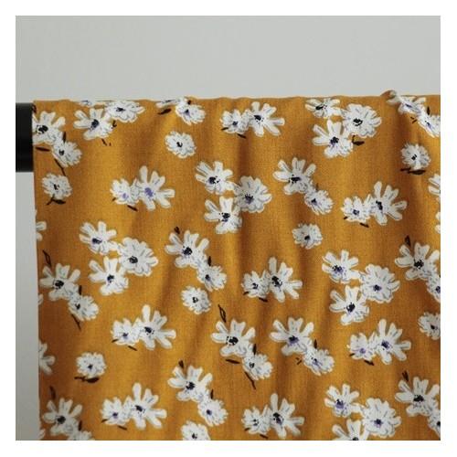 viscose fleurs marguerite jaune