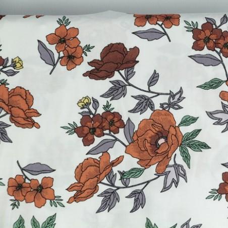 tissu viscose à fleurs