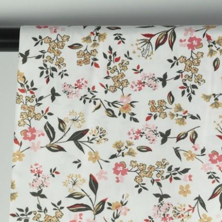 tissu viscose fleurs blanc