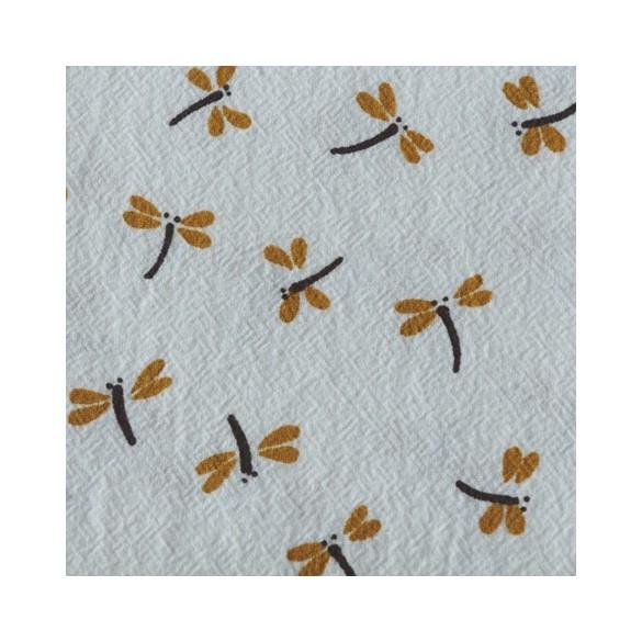 tissu coton lavé libellules - blanc