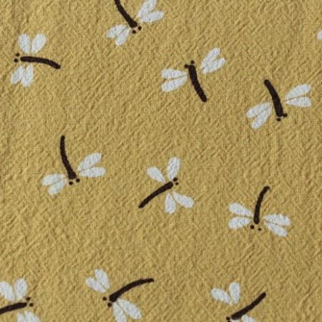 coton lavé libellules moutarde