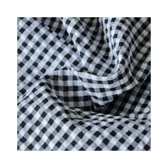 tissu seersucker vichy noir et blanc