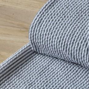 tissu seersucker noir et blanc