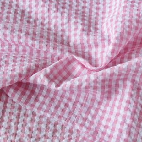 tissu seersucker vichy rose et blanc