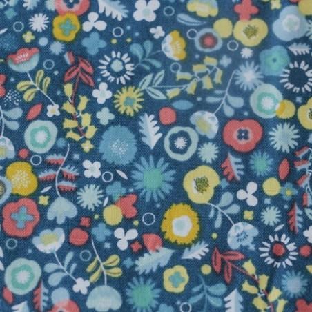 flower blue coton imprimé