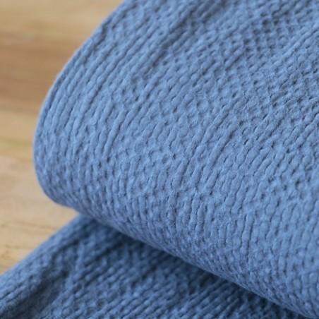 coton gaufré bleu