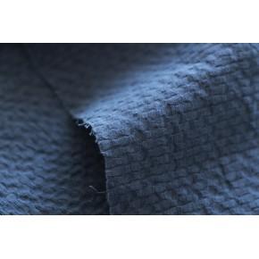 tissu coton gaufré bleu