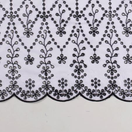 coton brodé noir et blanc