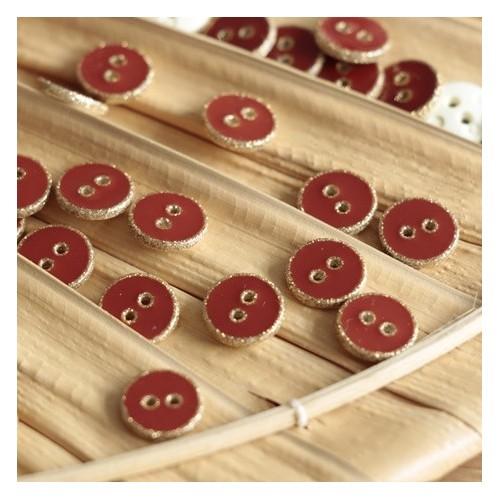 bouton rond émaillé terracotta