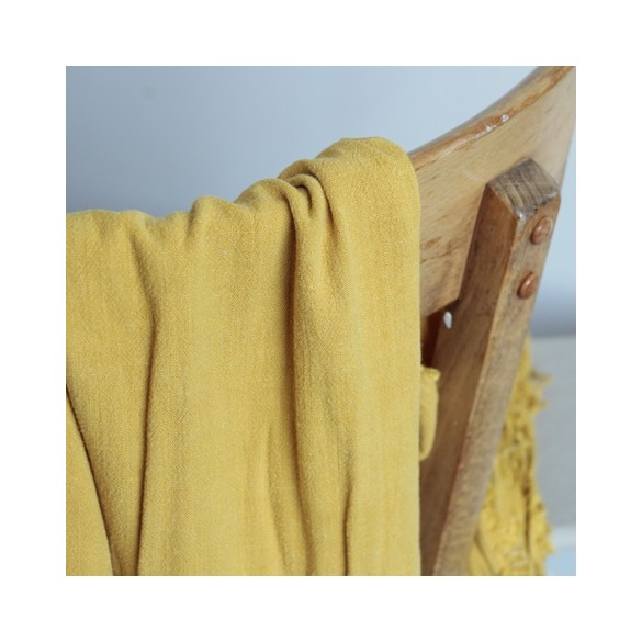 tissu lin et viscose jaune moutarde