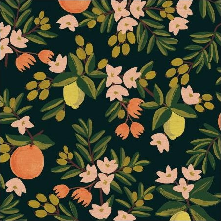 canvas citrus floral black
