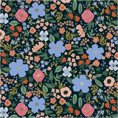 viscose wild rose black - rifle paper co