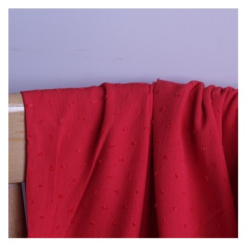 crepon viscose plumetis rouge