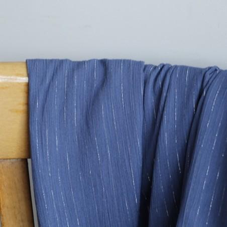 crepon de viscose rayures bleu