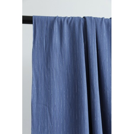 tissu viscose rayures bleu