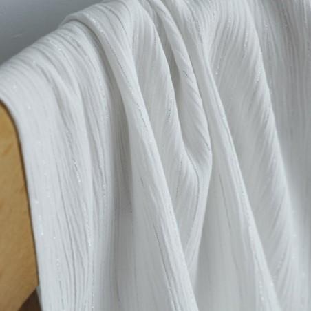 crépon de viscose rayures blanc