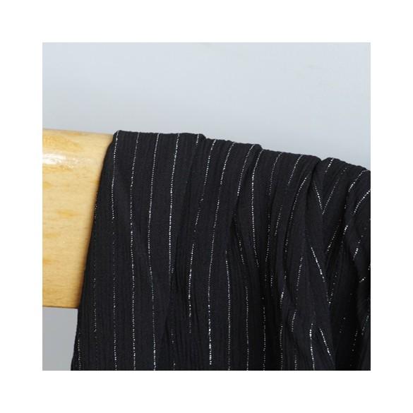 crepon de viscose rayures lurex noir