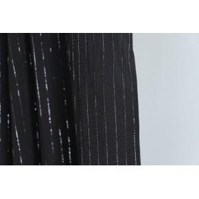 tissu crepon rayures noir et argent