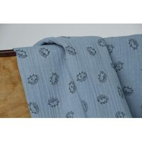 double gaze imprimé hérisson bleu
