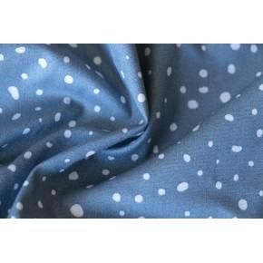 coton bio bleu à pois blancs