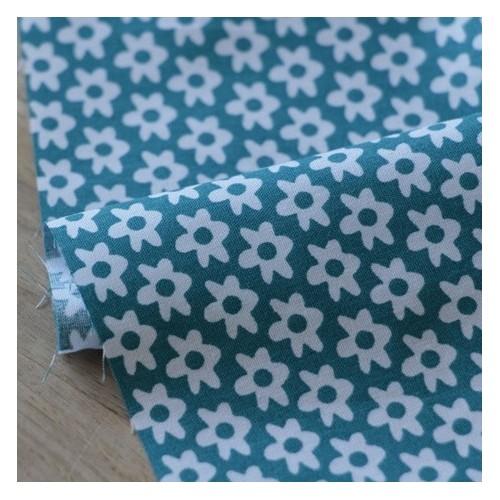 popeline coton fleurs - bleu