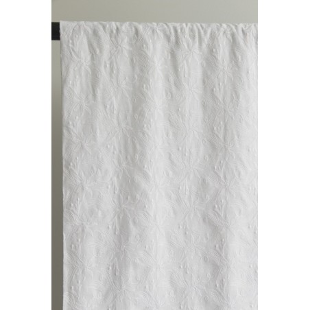coton brodé fleurs blanc