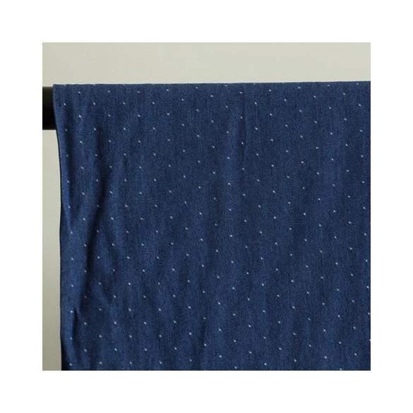 viscose chambray pois bleu brut