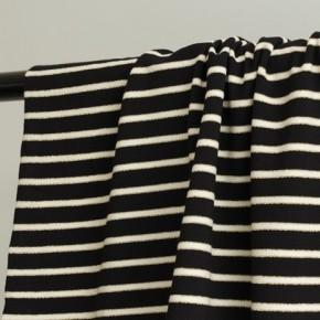 tissu jersey marinière noir écru et doré