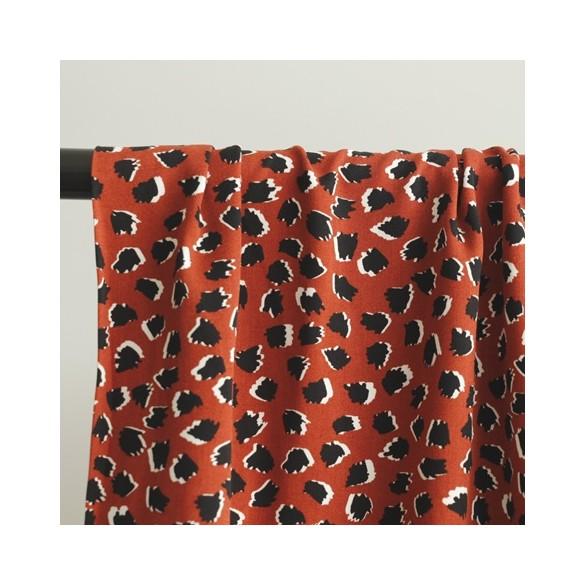 viscose imprimée leopard brique