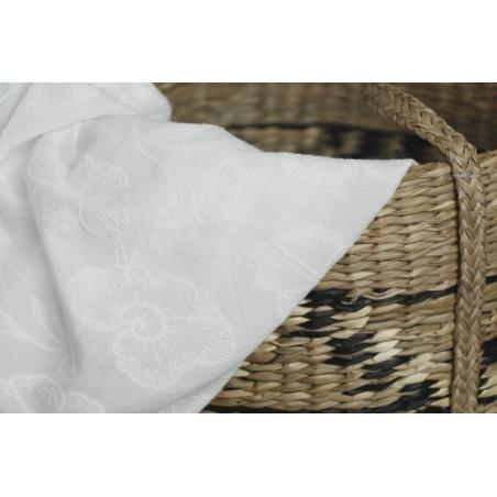 coton broderies fleurs blanc