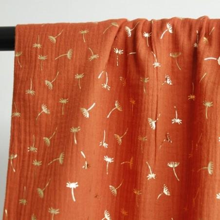 tissu double gaze brique fleurs dorées
