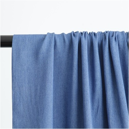 chambray viscose bleu moyen