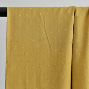 tissu viscose plumetis jaune moutarde