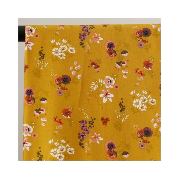 coton flowery moutarde
