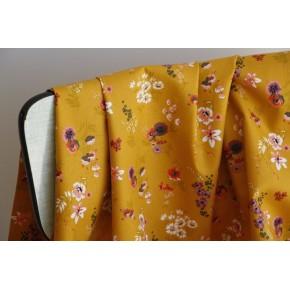 coton imprimé fleurs ocre