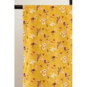 tissu coton fleurs ocre