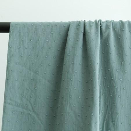 coton plumetis vert céladon