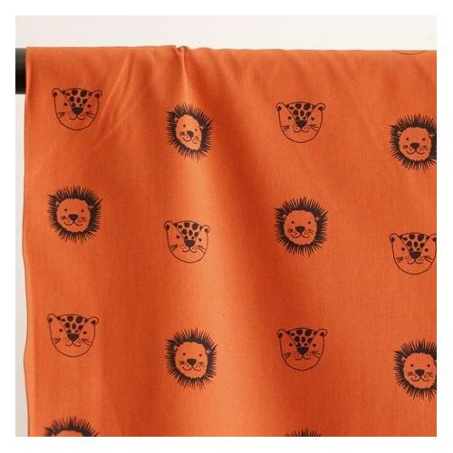 coton bio imprimé lions