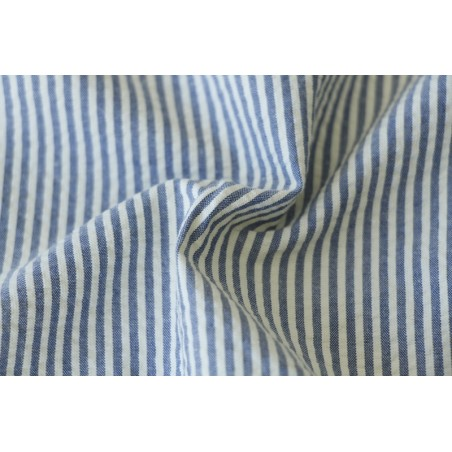 seersucker en coton rayé bleu
