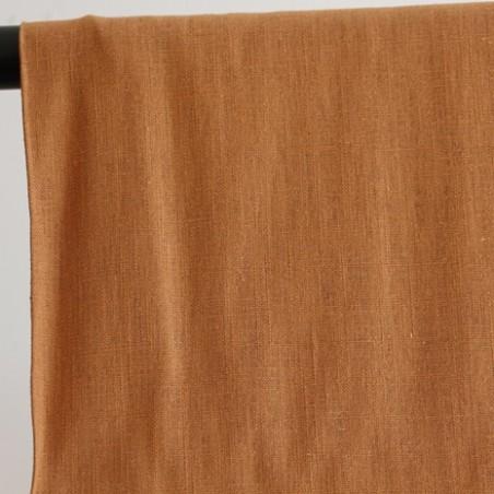 tissu pur lin coloris liège